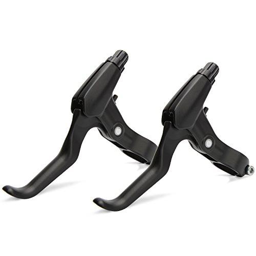 Alloy Brake Lever (TOPCABIN 1 Pair Universal Full Aluminum Alloy Bicycle Brake Handle Mountain Road Bike Brake Lever 2.2cm Diameter (Black+Black))