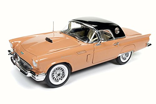 Black Thunderbird Model - 1957 Ford Thunderbird Convertible w/ Removable Black Bonnet 60th Anniversary edition, Coral Sand - Auto World AMM1098 - 1/18 Scale Diecast Model Toy Car