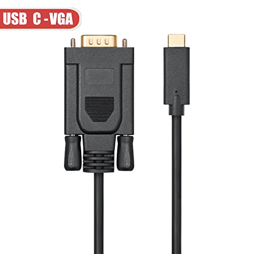 USB-C to VGA Cable (1.8m / 6ft), ITANDA Thunderbolt 3 Type C to VGA Male Converter for New Macbook Google Chromebook Pixel,Dell XPS 13 15