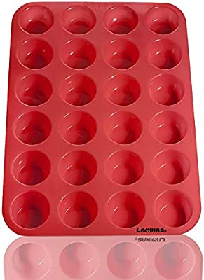 Laminas 24 taza silicona Mini Muffin Cupcake molde para hornear ...