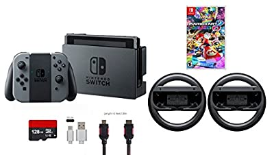 Nintendo Switch 6 items Bundle:Nintendo Switch 32GB Console Gray Joy-con,128GB Micro SD Card,Mario Kart 8 Deluxe,Mytrix HDMI Cable,Type C Cable,Nintendo Wireless Wheel Set of Two