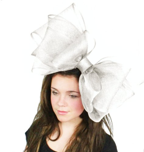 Hats By Cressida 20 Inch Cliverina Sinamay Bow Fascinator Hat Women's With Headband - White by Hats By Cressida