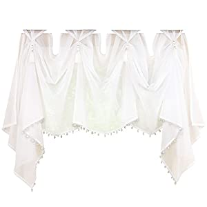 Sheer Scoop Tassel Crystal Beading Rod Pocket Window Curtain Valance, White