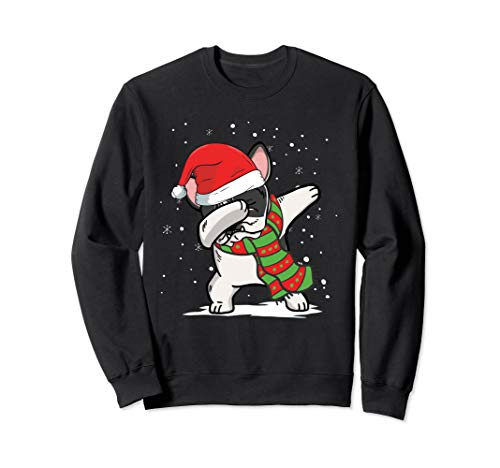 Pied French Bulldog (Dabbing Pied French Bulldog Santa Christmas Dog Sweatshirt)