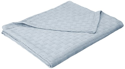 Superior 100% Thermal, Soft and Breathable Cotton for All Seasons, Bed and and Oversized Throw Blanket with Luxurious Basket Weave Pattern King Light Blue