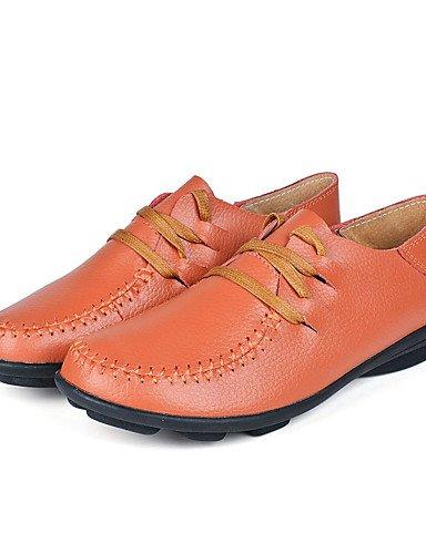 Njx Damen Schuhe Leder Leder Leder Frühling Sommer Herbst Winter Komfort Casual Flache Ferse Schnürschuh Braun Gelb Rot B01KHBTNEK Schnürhalbschuhe Geschäft 8378c0