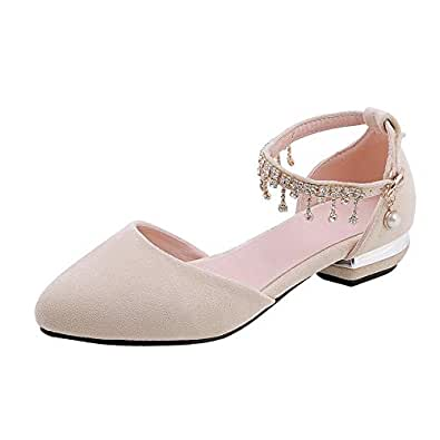 BalaMasa Womens APL11787 Mary Jane Comfort Rhinestones Beige Pu Block Heels - 2.5 UK (Lable:34)