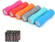 EverBrite 6-Pack Mini 9-LED Flashlight with Lanyard, Impact Handheld Torch Assorted Colors with 3AAA Battery I