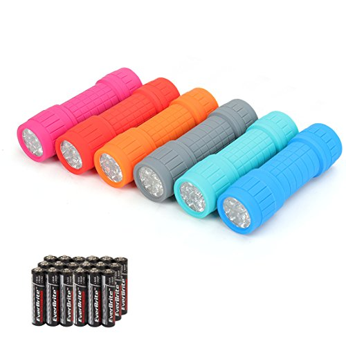 (EverBrite 9-LED Flashlight 6-pack Impact Handheld Torch Assorted Colors with Lanyard 3AAA Battery Included (Camping, Hiking, Emergency, Hunting))