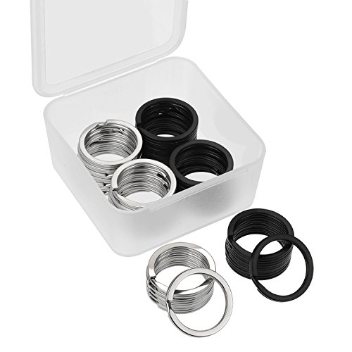 Outus 40 Pieces Key Rings Metal Split Rings Flat Key Chains Rings with Storage Box for Car Home Keys Organization, 25 mm, Black and Silver