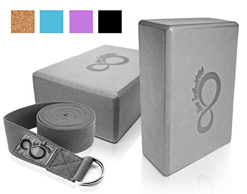 Premium Yoga Blocks & Metal D Ring Strap Yogi Set (3PC) 2 High Density EVA Foam Blocks to Support & Deepen Poses, Improve Strength & Flexibility- Lightweight, Odor & Moisture Resistant (Dark Grey)
