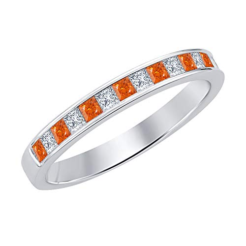 Princess Cut Orange Sapphire & Diamond .925 Sterling Silver Engagement Wedding Band Ring for Women's