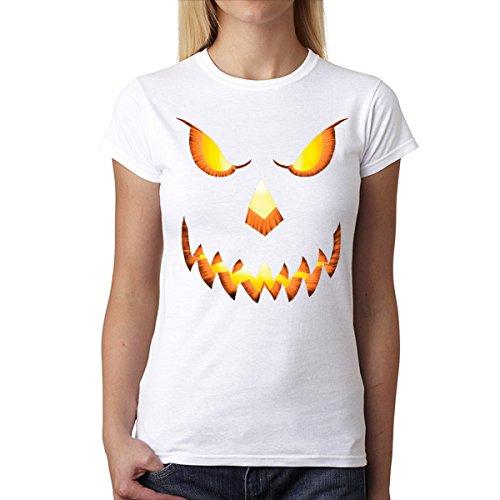 Cabeza de Calabaza Halloween Horror Mujer Camiseta XS-2XL Nuevo Blanco