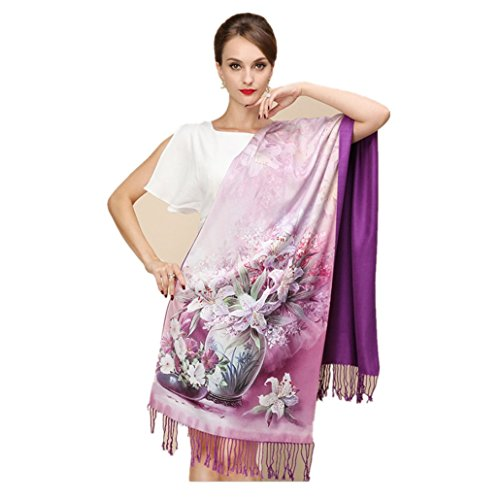 Thick Silk Scarf (Longlove Shanghai Story Silk Scarves Thick Autumn and Winter Scarves Female Long Section of Double-sided Brushed Scarf Shawl Dual (Scarf shawl dual 15))