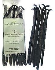 10 Premium Madagascan Gourmet Vanilla Grade A, Bourbon Noir Vanilla Pods from Madagascar, 16/17cm +-40g - 2020 Crop Direct import into UK