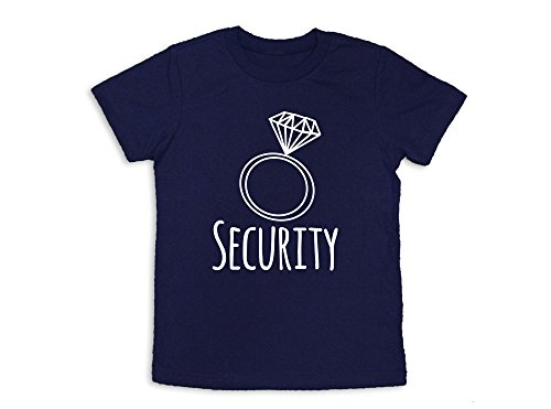Oliver and Olivia Apparel Ring Security Shirt Ring Bearer Shirt Wedding Party Shirt, Navy Blue, Youth Small 6-8