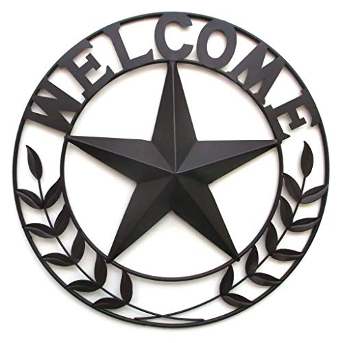 Mayrich Primitive Barn Star Wall Art, Decorative Metal Wagon Wheel Wall Sculpture, Welcome Home Décor Sign ()