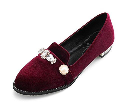 Mujeres De La Vendimia Del Rhinestone Del Dedo Del Pie Redondo De Corte Bajo Faux Suede Slip On Flats Mocasines Zapatos Vino Rojo