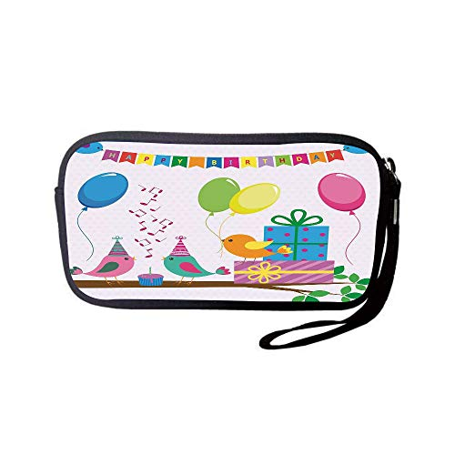 iPrint Neoprene Wristlet Wallet Bag,Coin Pouch,Birthday Decorations for Kids,Singing Birds Happy Birthday Song Flags Cone Hats Party Cake,Multicolor,for Women and Kids ()