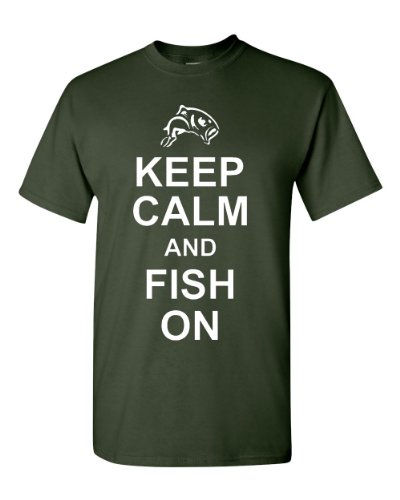 Keep Calm And Fish On Adult T-Shirt Tee