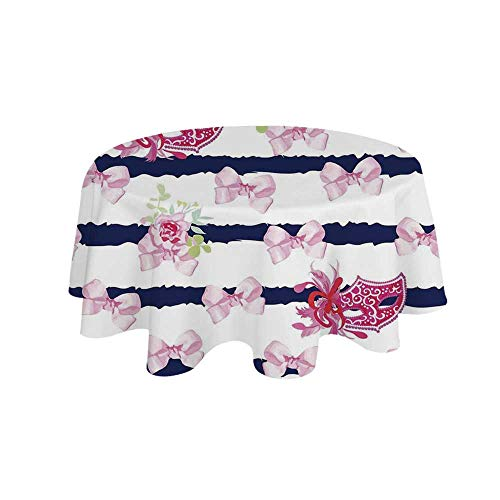 (YOLIYANA Masquerade Waterproof Round Tablecloth,Venetian Style Carnival Masks on Stripes with Satin Bows Roses Flowers for Living Room,27
