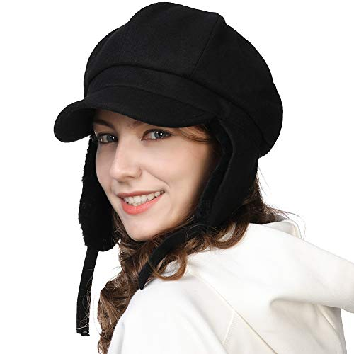 Womens Wool Newsboy Cap with Ear Flaps Conductor Visor Beret Winter Trapper Hat Fur Hunting Snow Cold Weather Black Lined