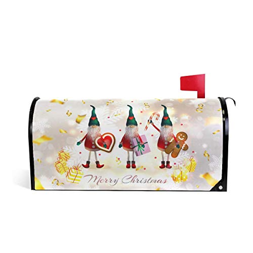 XINXIANDFD Christmas Elves Gifts Winter Welcome Magnetic Mailbox Post Box Cover Wraps, Snowflakes Cookies Sweets Standard Size Makover MailWrap Garden Home Decor