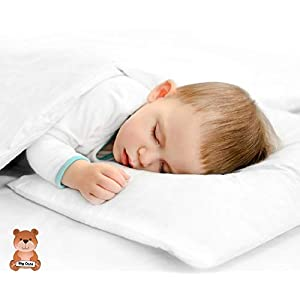 Big Oshi Toddler Pillow for Boys or Girls – Set Includes 1 Pillow and 2 Covers – Soft, Foam Pillow is Perfect for Toddler Beds, Cribs, or Kids Naps – 2 White Cases – 14×19