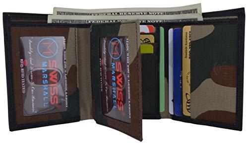 Swiss Marshall Men's RFID Blocking Premium Leather Classic Trifold Wallet (Camo Black)