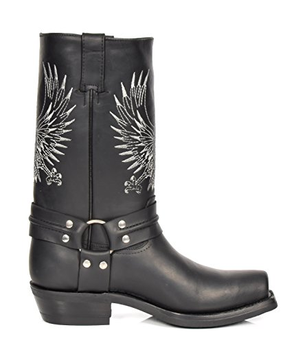 Western Boots Calf 08BE Length Slip Leather Hi Square on Leather Black Cowboy Toe Heels House Of q1TwRR