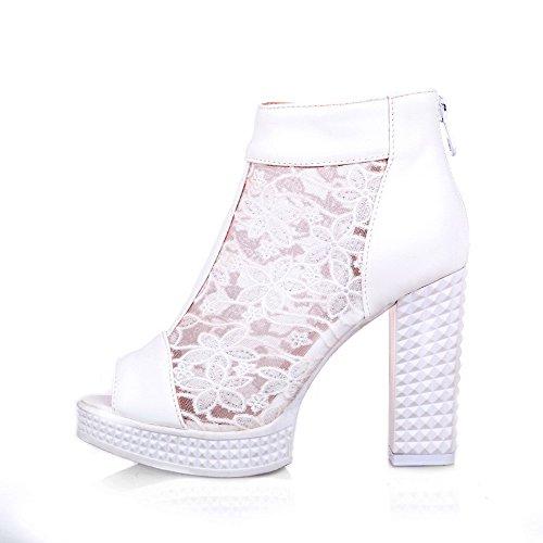 Allhqfashion Donna Tacco Alto Materiale Morbido Colore Assortiti Cerniera Sandali Peep Toe Bianco