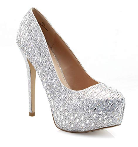(FOREVER VOGUE Women's Closed Toe High Heels - Rhinestone Wedding Shoes High Heel Stiletto - Wedding Evening Party Pumps Shoes Silver)