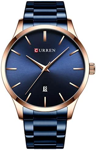 Mens Luxury Quartz Watches Stainless Steel Strap Chronograph Waterproof Business Wrist Watch Man