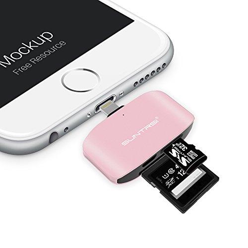 Rose Camera (Card Reader for iPhone, Suntrsi Apple Micro SD Card Reader For iPad/iPhone, Tail Camera Card Reader Lightning to SD Card Camera Reader - Supports Lightning card reader writer for iPhone)