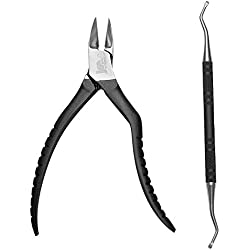 Bigwinner Stainless Steel Nail Cuticle Spoon Pusher Remover Cutter - Nail Nipper -Nail Clipper - Professional Manicure Tools and Exclusive Storage Case - E-LING (set of 2)