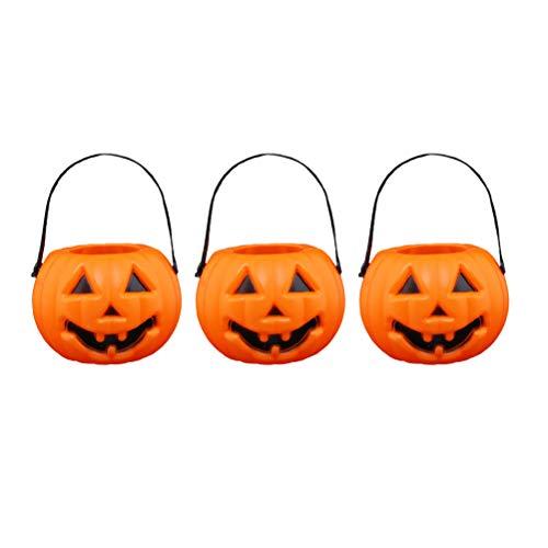 3pcs Halloween Portable Pumpkin Lanterns Halloween Barrel Candy