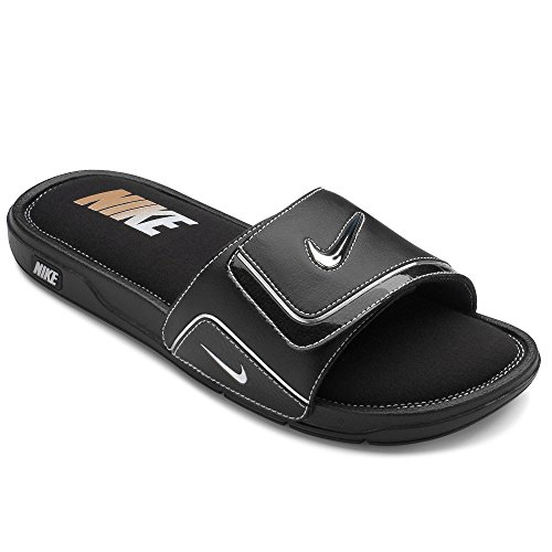 c39e266cca106 Galleon - Nike Comfort Slide 2 Men Slider Black White Metallic Silver  415205-002 (SIZE  7)