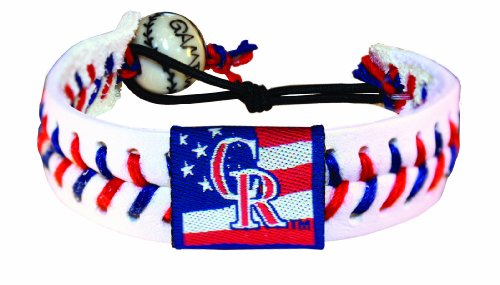 Colorado Rockies Classic Bracelets - MLB Colorado Rockies Stars and Stripes Classic Baseball Bracelet