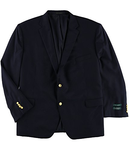 (Ralph Lauren Blazer Navy Solid Wool Two Button New Men's Sport Coat (56L))