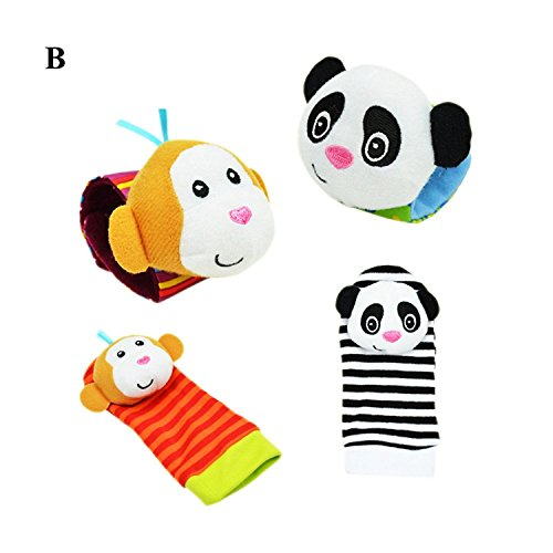 (Lisli 4pcs/set Infant Baby Animal Wrist Rattles and Foot Finder Sock Set Developmental Soft Toys (Color B))