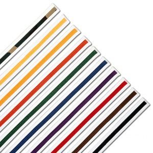 ProForce Striped White Karate Belts - Yellow - Size 6 - 5 Pack ()