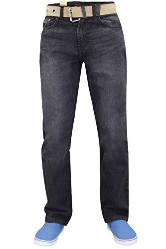 Uomo Nuovo Da Jeans Nero Dritta Incluso Regolare Basic Denim Cotone Taglio Resistente Gamba Cintura 1q5AqrTd