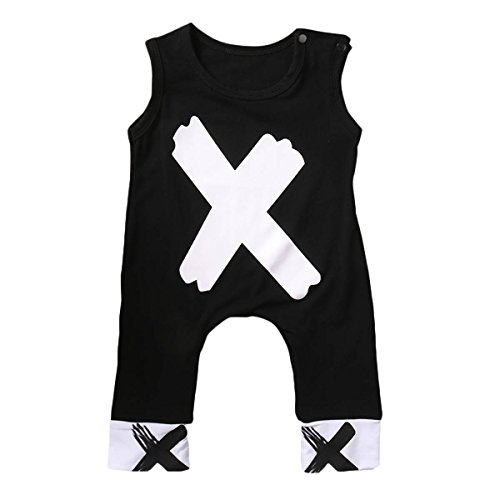 Charm Kingdom Newborn Kids Baby Boys Girls Sleeveless Summer Cotton Romper Jumpsuit Outfits (90 (12-18M), Black and White)