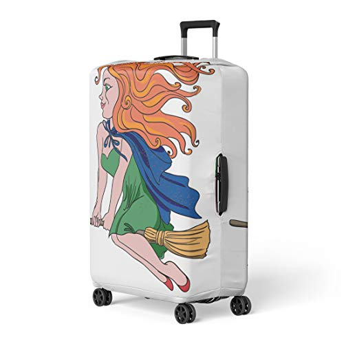Pinbeam Luggage Cover Red Cartoon of Witch Riding Broomstick Artistic Freehand Travel Suitcase Cover Protector Baggage Case Fits 26-28 inches