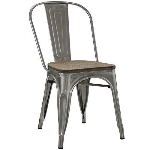 (Modway Promenade Stackable Modern Aluminum Bistro Dining Side Chair With Bamboo Seat in GunMetal )