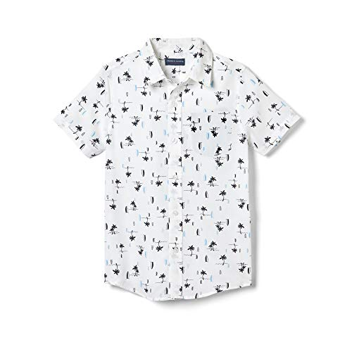 French Toast Boys' Little Short Sleeve Woven Shirt, Bright White Surf, 7