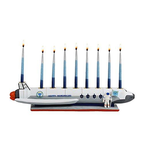 Zion Judaica Polyresin Spaceship Menorah Chanukah in Outer Space by Zion Judaica Ltd