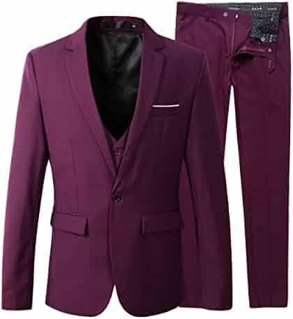 52b98b9124c Benibos Men s Slim Fit Suit Blazer Jacket Tux Vest Pants 3 Pieces Suit Set