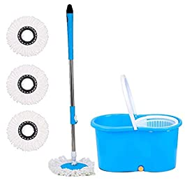 ABI CLEANING SOLUTIONS 360° Spin Floor Cleaning Bucket PVC Mop with Free 3 Microfiber Refill with Wheels (Blue)