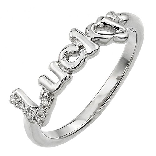 Lucky Set Ring - Rhodium Plated Sterling Silver Pave Set Cubic Zirconia